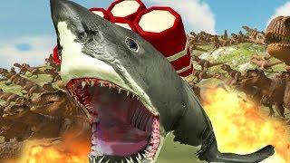 NEW GIANT SHARK 100,000 DAMAGE BOMB vs 500 T-REX - Beast Battle Simulator Gameplay | Pungence
