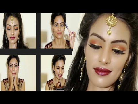 Xxx Mp4 Engagement Nikaah Asian Bridal Makeup Gold Glittery Eyes Hot Maroon Velvety Lip Priyadeep 3gp Sex