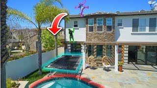 CRAZY TRAMPOLINE TRICKS INTO BACKYARD POOL! *SKETCHY*
