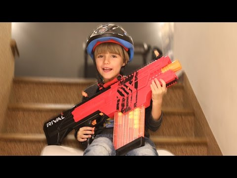 Nerf Rival Challenge Playing with Khaos New Gun Slide and Shoot