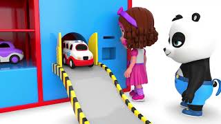 Pinky and Panda Fun Play with Toy Car Parking Machine - Learning Videos