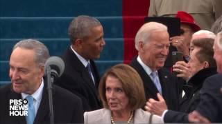 Barack Obama and Joe Biden enter Inauguration Day 2017 ceremony
