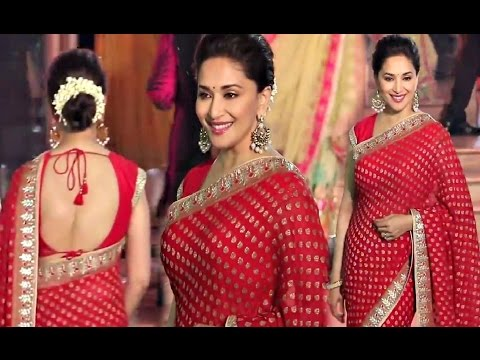 Madhuri Dixit Hot Red Saree At Wedding Reception Of Stylist Shaina Nath