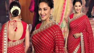 Madhuri Dixit Hot Red Saree At Wedding Reception Of Stylist Shaina Nath