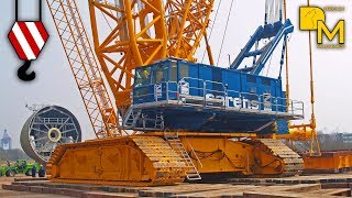 GIANT CRAWLER CRANE TEREX CC 9800 SARENS ERECTING WIND ENERGY PLANT