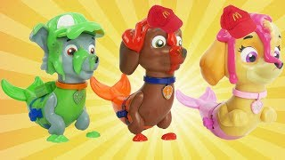 Paw Patrol learns colors with finger paints