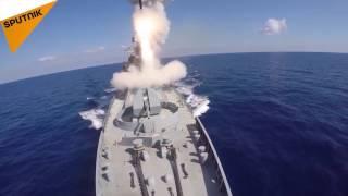 حملات موشکی روسیه به مواضع داعش در سوریه از دریا