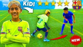 8 YEAR OLD KID MESSI vs OVERPOWERED PRO FOOTBALLER CHALLENGE.. AMAZING Football Competition