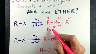 Why do we make Grignard Reagents in Ether (why not water?)