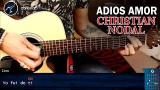 Como tocar Adiós Amor en Guitarra Christian Nodal   Tutorial Acordes