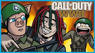 Call of Duty: World War II Funny Moments! - Lil Pump, Gucci Gang Country Cover, LEGIQN Freestyle!