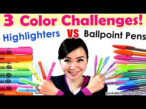 3 Color Challenge: Ballpoint Pen VS Highlighter   NEW Art Challenges