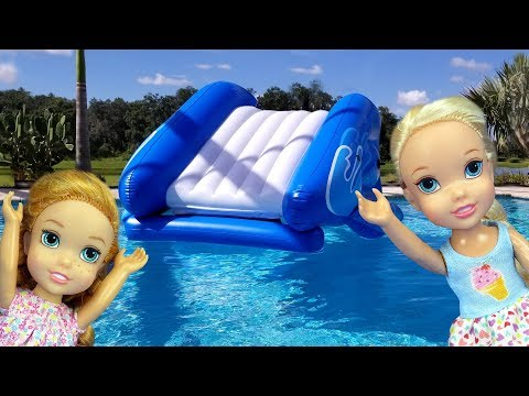 Xxx Mp4 Water Slide Elsa And Anna Toddlers Pool Playdate Barbie Floaties Swim Water Fun Splash 3gp Sex