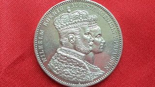 Prussia SILVER THALER 1861 Coronation of Wilhelm and Augusta
