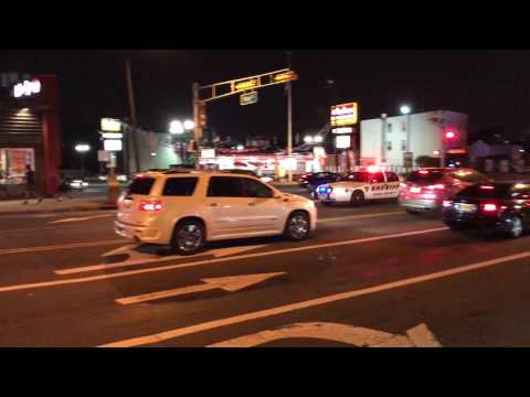 ESSEX COUNTY SHERIFF'S DEPARTMENT CRUISER RESPONDING ON WEST MARKET STREET IN NEWARK, NEW JERSEY.