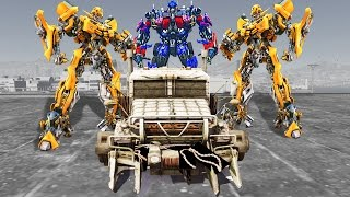 BUMBLEBEE, OPTIMUS PRIME VS MEGATRON - GTA V TRANSFORMERS MOD