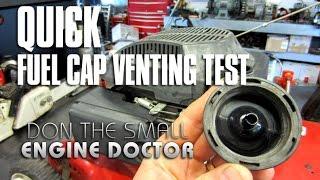 Lawnmower Fuel Cap Venting Test