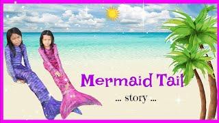 DRAMA EKOR PUTRI DUYUNG ANAK ♥ Real Mermaid Tail Magic Transformation Swimming On Beach