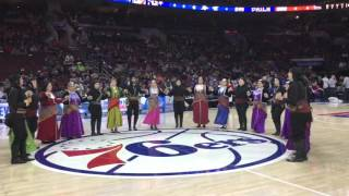 Pontian Society Akritai at the Greek Heritage Night at the 76ers
