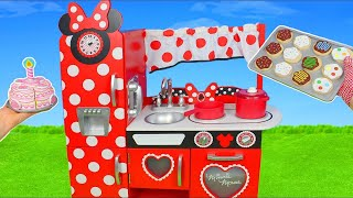 Minnie Mouse Kitchen Toys: Cooking Food w/ velcro Cutting Fruits & Play Doh for Kids