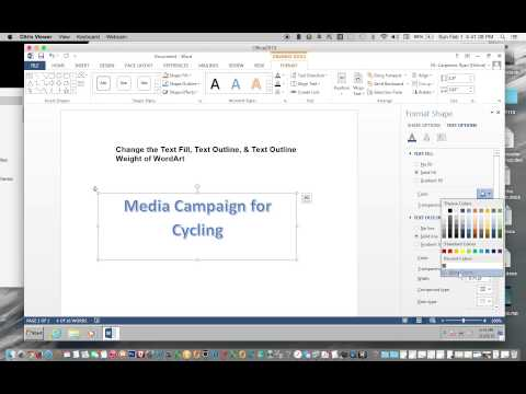 Change the Text Fill Text Outline & Text Outline Weight of WordArt