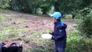 Discgolf hole in Liberec,CZE  - 6 years old boy
