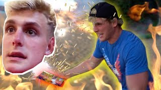 SHOOTING FIREWORKS AT MY BROTHER AND HIS WIFE! (Honeymoon Prank)