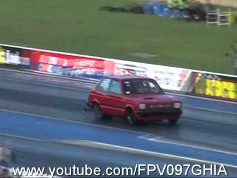 TOYOTA STARLET 13B TURBO ROTARY GETS OUT OF SHAPE AND HITS THE WALL TEST N TUNE 22 1 2011