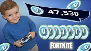 *5 YEAR OLD KID* Spending Spree With 47,000 V-Bucks! (He Also Tries To Buy Battle Pass Tiers!)