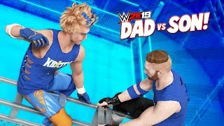 DAD vs SON in a CAGE! WWE 2k19 Family Battle | KIDCITY GAMING