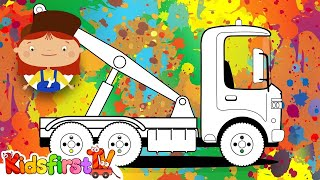 Doctor McWheelie colors a tow truck. Cartoons.