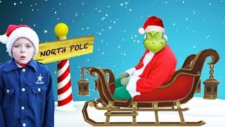 Grinch steals keys to Santas magical sleigh! Silly funny holiday kids video