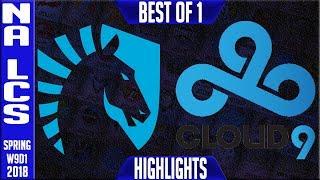 TL vs C9 Highlights | NA LCS Week 9 Spring 2018 W9D1 | Team Liquid vs Cloud 9 Highlights