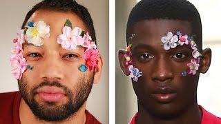 Men Try Bizarre Runway Makeup Looks
