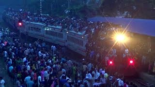 Jam Packed Silk City Express Train Entering & Departing Dhaka Airport Station A Day Before Eid