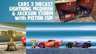 Cars 3 Lightning McQueen & Jackson Storm with Piston Cup Die Cast