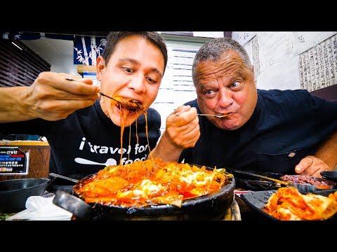 Korean Food in Los Angeles 2 GIANT FLAMING CHEESE Ribs Cauldrons in Koreatown LA