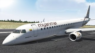 Myanmar Air, Embraer 190 Emergency Landing Due To Nosewheel Failure, Mandalay Airport [XP11]