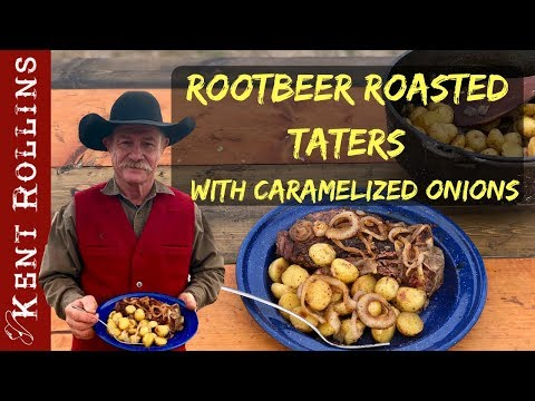 Root Beer Roasted Potatoes with Caramelized Onions Dutch Oven Potato Recipe