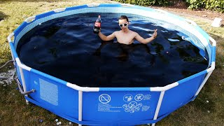 Taking a Bath in a Giant 1,500 Gallon Coca-Cola Swimming Pool!