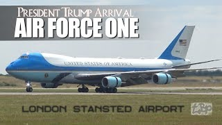 President Donald Trump Air Force One Arrival London Stansted Airport UK Lockheed C5 US Air Force