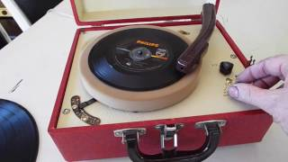 Pal manual 3 speed record player playing a 45 RPM, 7
