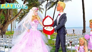 Barbie Doll and Ken Wedding Day Party with Glam Dress! 🎀