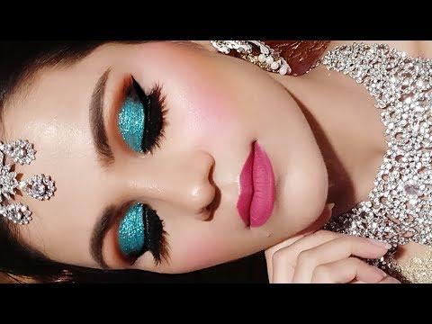 Xxx Mp4 INDIAN Muslim BRIDAL Makeup Tutorial In HINDI Full Coverage Waterproof Makeup Green Glittery Eyes 3gp Sex