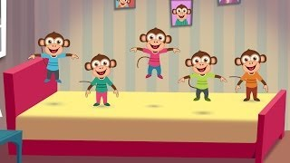 Five Little Monkeys Jumping on the Bed Nursery Rhyme - Cartoon Animation Rhymes Songs for Children