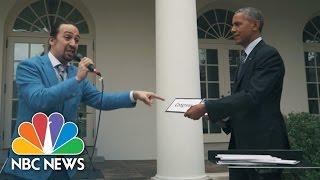 'Hamilton' Creator Lin-Manuel Miranda Freestyle Raps With President Obama   NBC News