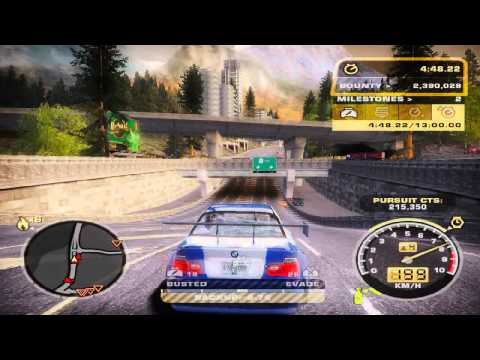 Need for Speed Most Wanted Final pursuit Heat 6 with Bugatti Veyron police cars HD 720p