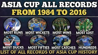 Asia Cup All Record Since From 1984 to 2016 | All Records Of Asia Cup  | Most Runs , Most Wins&lost