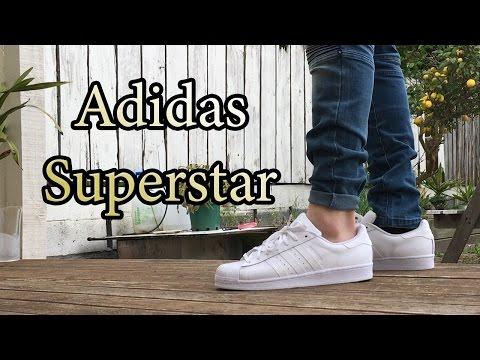 Adidas Superstar Originals   Triple White   On Feet w/ Different Bottoms