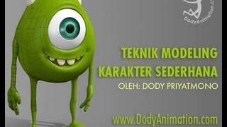 Video tutorial bahasa indonesia: Monster university modeling with blender (part1)